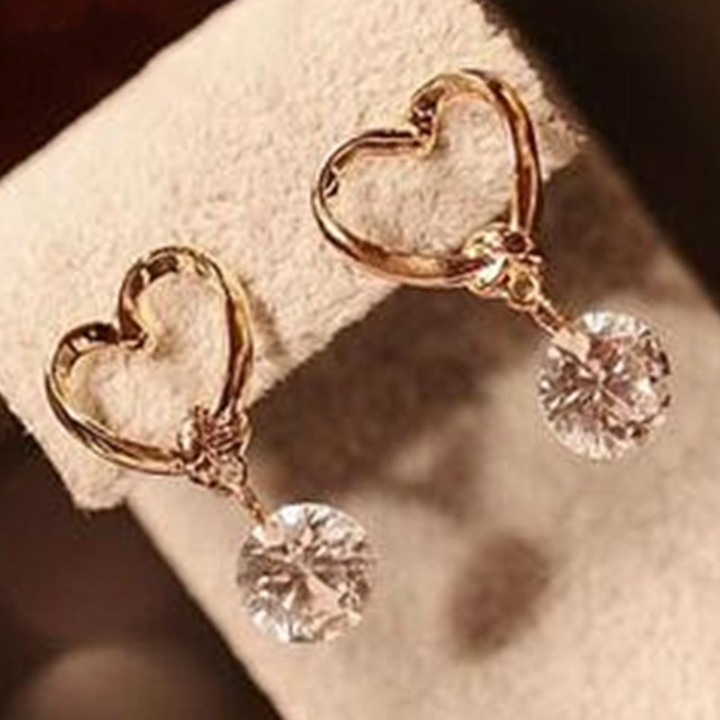 Korean Fashion Jewelry love zircon earrings wholesale women exquisite affordable