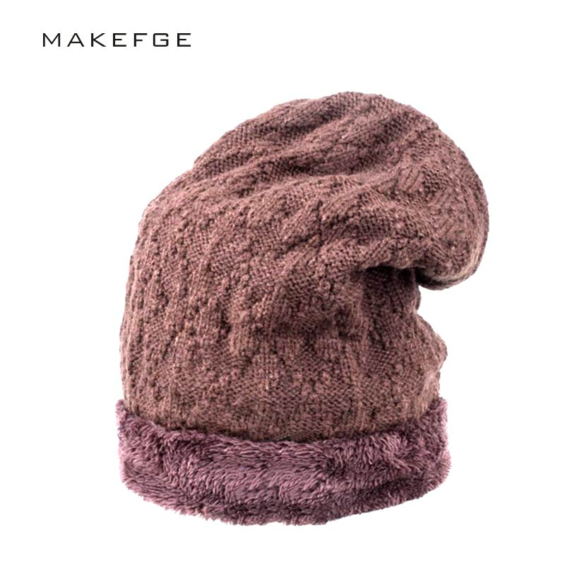 Fashion Bonnet Gorros Caps For Men Women Thick Winter Beanie Men Knitted Hat Warm Skullies & Beanies With Velvet gorro feminino 3pcswinter beanie women men hat women winter hats for men knitted skullies bonnet homme gorros mujer invierno gorro feminino