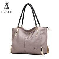 FOXER бренд для женщин из коровьей кожи сумки женская сумка Роскошные дизайнерские леди сумка большой вместимости на молнии для