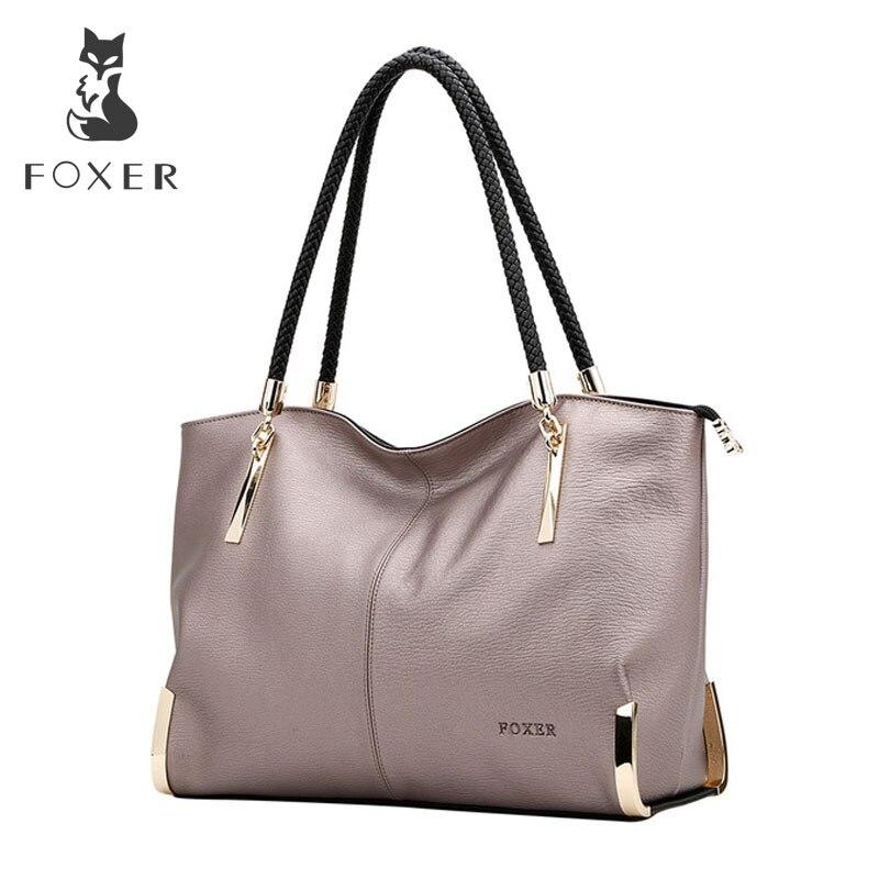 1984103549 FOXER marque femmes sacs à main en cuir de vache femme sac à bandoulière  designer de luxe dame fourre tout grande capacité sac à main à glissière  pour les ...