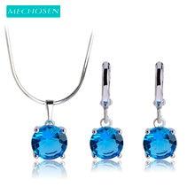 MECHOSEN Exquisite Wedding Jewelry Sets Necklace Earrings For Women Silver-color Blue Zirconia Collier Pendants Brincos Schmuck