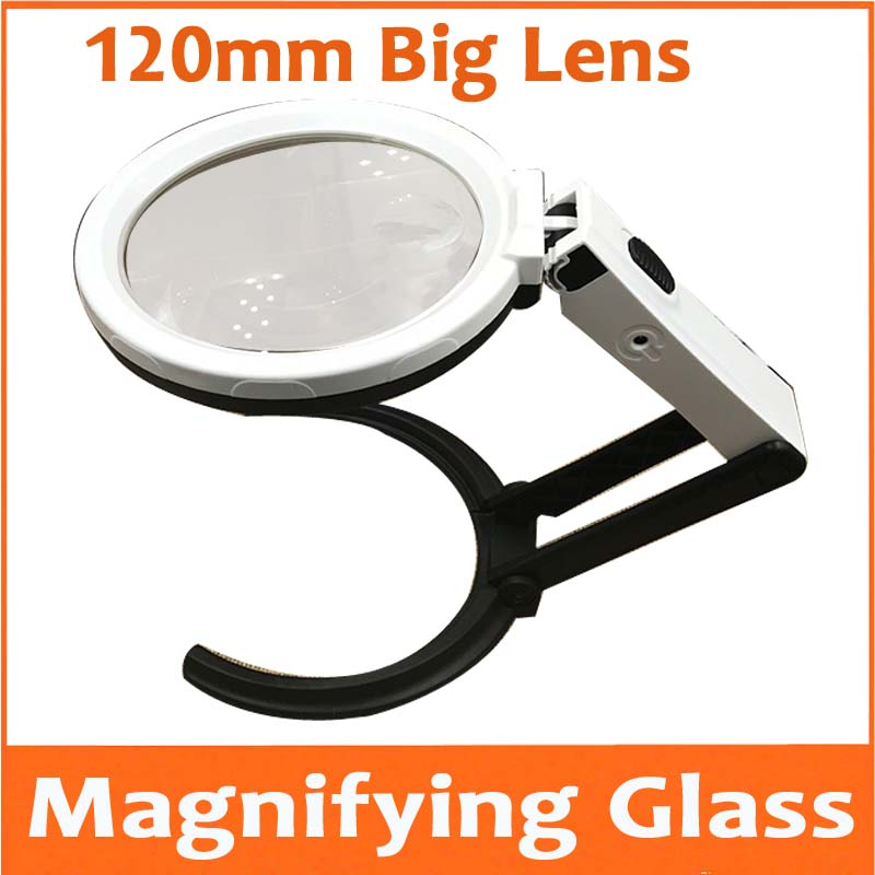 цена на 2X 5X Desktop 120mm Big Lens LED Illuminated Handheld Magnifier Table Magnifying Glass for Mobile Phone Circuit Board Repair