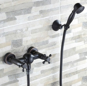 Black Oil Rubbed Brass Wall Mounted Bathroom Dual Cross Handles Hand Held Shower set With Wall bracket &1.5m Hose atf016
