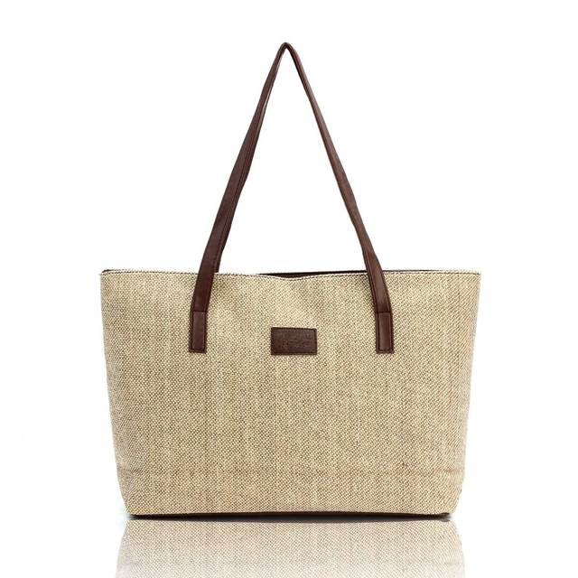 2017 Kate Space Women Handbags Canvas Large Capacity Linen Shoulder Big Shopper Bag Vintage Ladies Casual Summer Beach Bag Tote