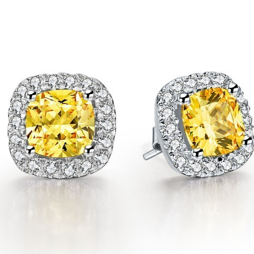 77ad35e41 3CT/Piece 8mm Cushion Cut Halo Yellow Lovely Diamond Stud Earrings Women Sterling  Silver Jewelry