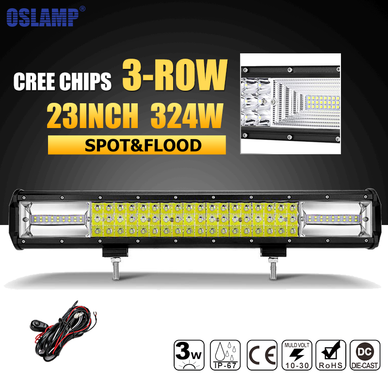 Oslamp 23inch 324W 3-row LED Work Light Bar Combo Beam Offroad Led Work Light 12v 24v Led Bar Driving Lamp Truck SUV ATV 4x4 4WD oslamp 5d 32 led light bar 300w cree chips offroad led work light bar combo beam 12v 24v truck suv atv 4x4 4wd led driving lamp