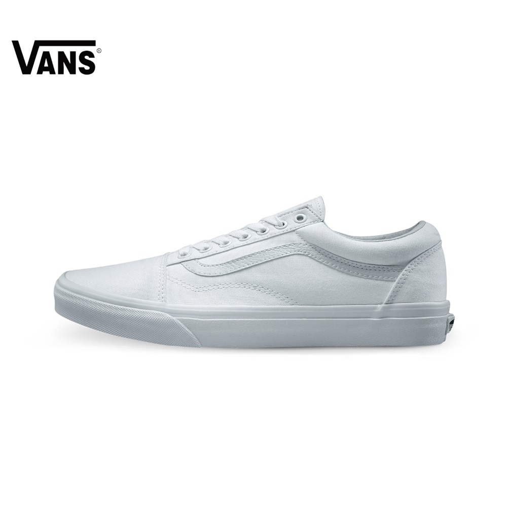 original vans classic unisex white skateboarding shoes old skool sports shoes sneakers free. Black Bedroom Furniture Sets. Home Design Ideas
