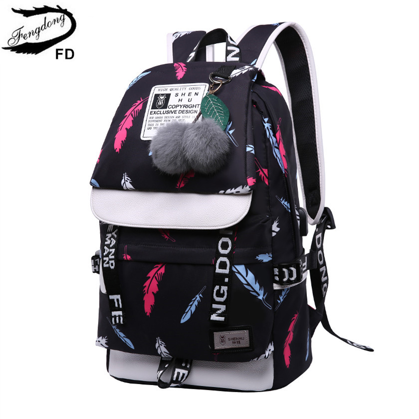 FengDong Backpacks For Children School Bags For Teenage Girls Feathers Print Schoolbag Backpack Child Bag Kids Laptop Backpack