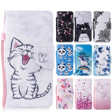 PU Leather Case For Huawei P Smart Luxury Lovely Pattern Cover for Enjoy 7S FIG-LX1 Flip Wallet