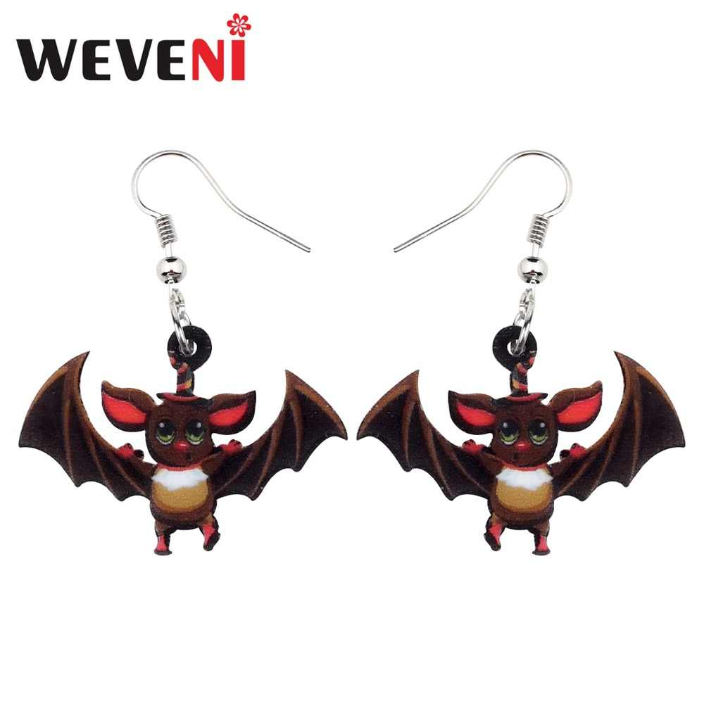 WEVENI Acrylic Halloween Sweet Bat Earrings Drop Dangle Anime Animal Jewelry For Women Girls Female Party Gift Dropship Charms