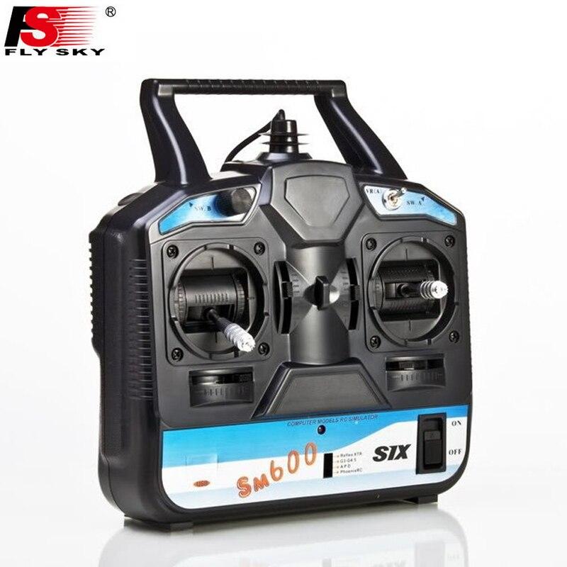 Flysky FS-SM600 6CH Rc Simulador de apoyo G6 G7 XTR FMS para 3D avión, helicóptero Gilder arreglar ala Modo 2