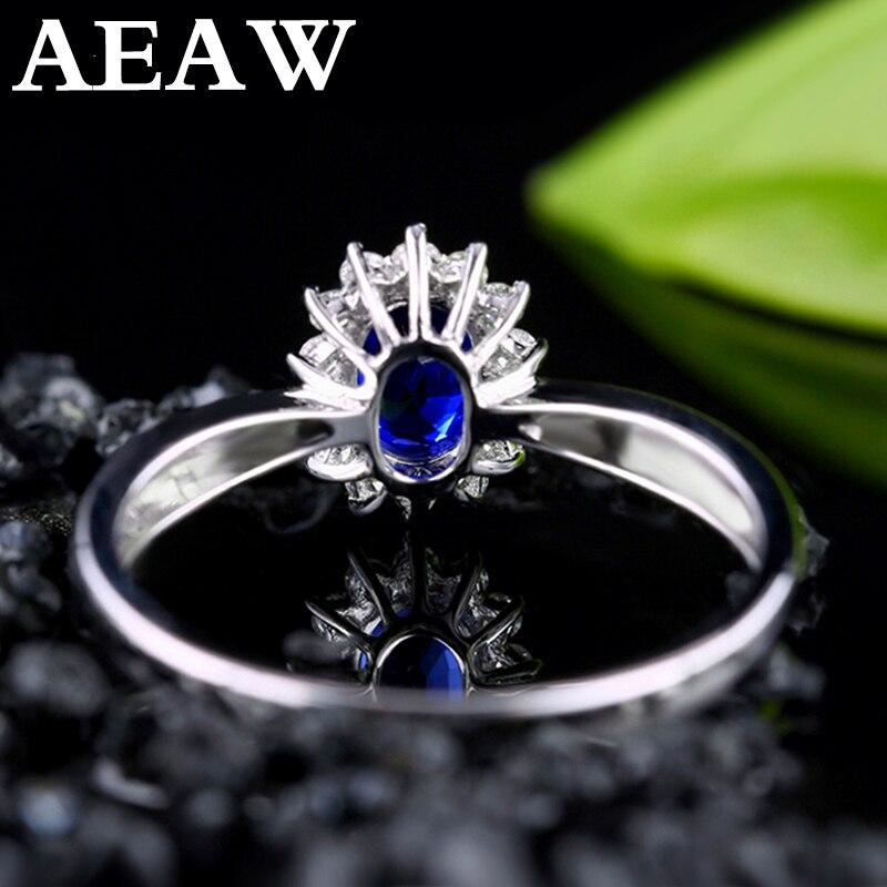 Genuíno 0.5ct aaa anel de safira natural 0.16ctw verdadeiro diamante 14kt ouro branco design simples para a menina aniversário jóias por atacado - 3