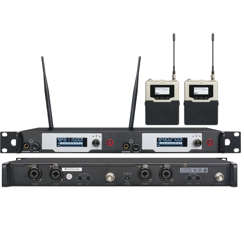 UKINGMEI UK-9400 Stage in ear monitoring system Professional monitors wireless in ear monitor system dual transmitter 2 receiver anders portable professional wireless tour guide system for simultaneous large meeting 1 transmitter 10 receiver f4508a