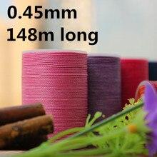 YL045 0,45mm 148 m de longitud redonda hilo encerado cuerda encerada para costura de cuero, cordones de hilo encerado
