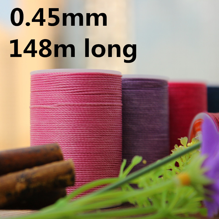 YL045 0.45mm 148m Long Round Waxed Thread Waxed String For Leather Sewing, GALACES Waxed Thread String