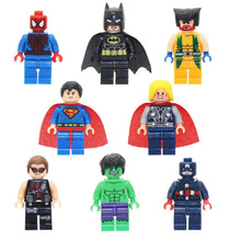 5cm 8pcs/set Superman Batman Avengers Marvel Hulk Captain America Spider
