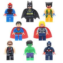 8 sztuk zestaw Superman Batman Avengers Marvel Hulk kapitan ameryka Spider-Man Iron Man blok Mini Action Figures zabawki dla chłopca prezent tanie tanio PUWEI Model 1 60 Zachodnia animiation Żołnierz zestaw Second edition 3 lat Urządzeń peryferyjnych Wyroby gotowe Unisex