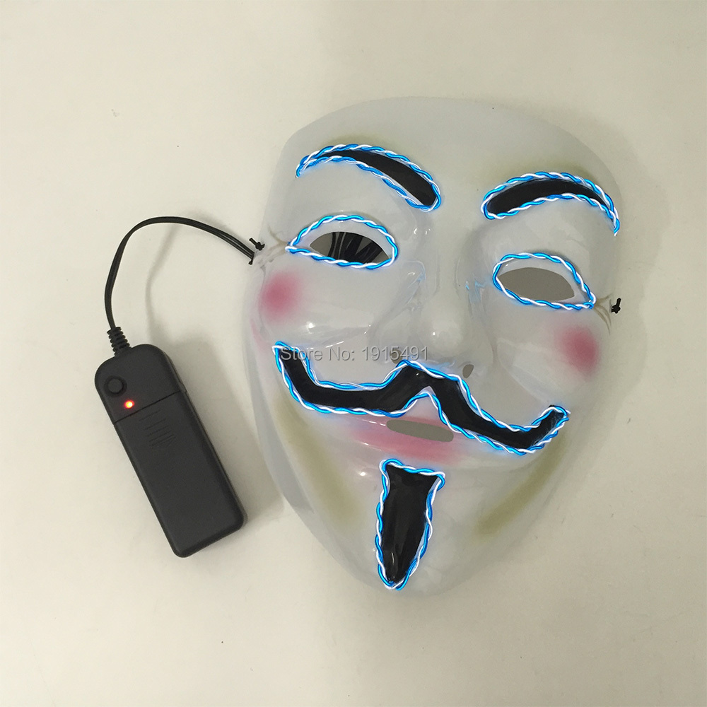 Cosplay V for Vendetta Light Up Mask Anonymous Movie Guy Fawkes Figure Halloween Party Holiday Lights Led Neon Voice Active Mask flounce light up cosplay skirt
