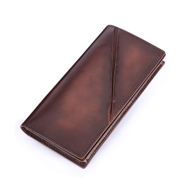 TERSE_Slim men wallet antique style handmade genuine leather bag large capacity custom logo 3 colors factory to customer 316