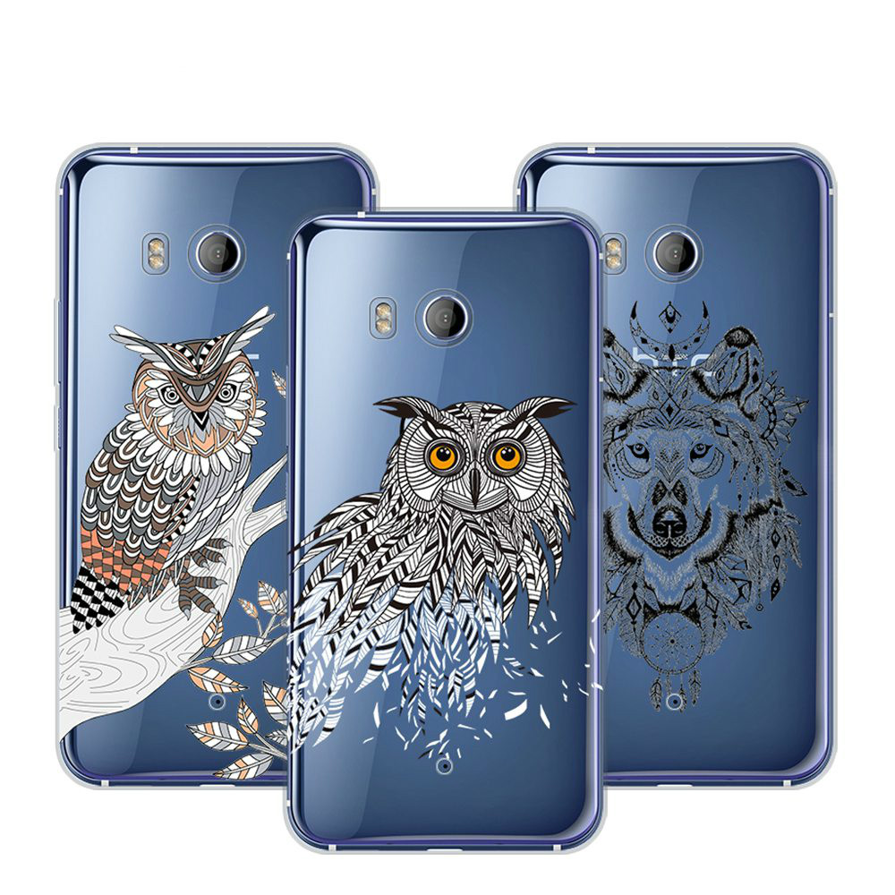 BETYFATE Case For HTC U11 Case Silicon Soft Funda For HTC U11 Cover Wolf Owl Pattern Printed Case For HTC U11 Plus Back Cover
