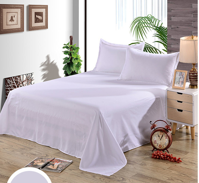 Solid White Hotel / Family Twin Full Queen King Size Flat Sheet Bed Sheet,  Single