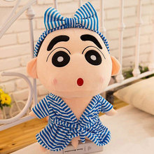 CXZYKING Q Expression Crayon Shin Chan Doll Plush Toy Soft Doll With Bath Clothes Bow Tie Lover Children Birthday Gift 33cm(China)