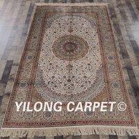 YILONG 5'x8' Persian silk carpet rectangle vantage beige turkish silk rug for sale (SCH084A5x8)