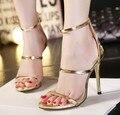 Mulheres novo estilo conciso simples tiras dedo aberto com tira no tornozelo cortar sandálias mary jane stiletto bomba de salto alto de ouro prata