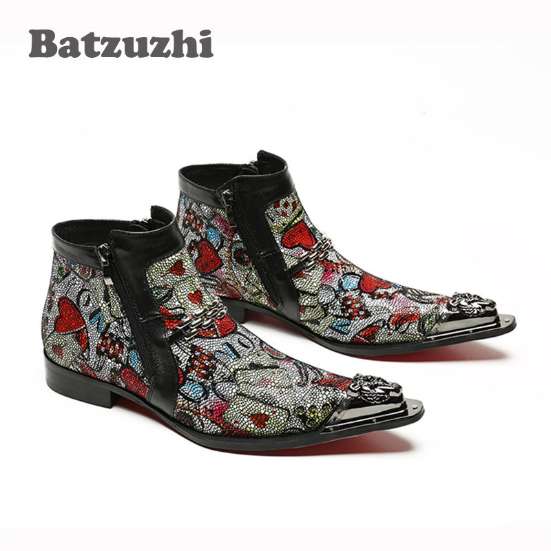 Kurze Hilfe Picture Toe Herren Designer Stiefel Zipper Bunte Leder Eisen Handarbeit Batzuzhi Wies As Hohe Italienische Männer n7qxf1a8B