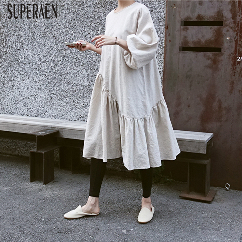 SuperAen Spring and Autumn New Women Dress Casual Fashion 2018 Cotton and Linen Dress Women Loose