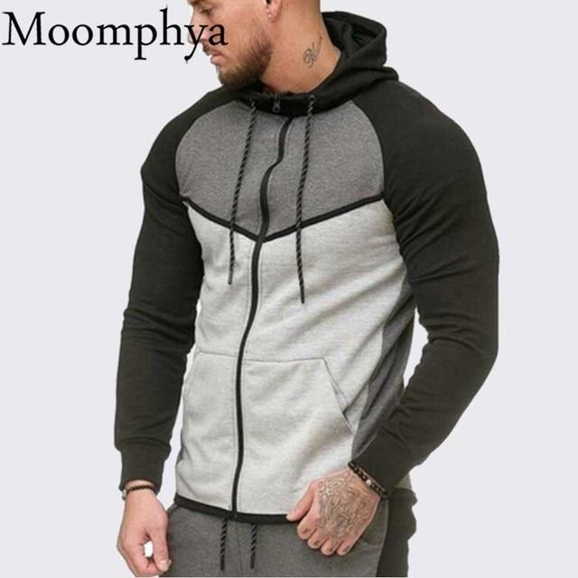 5bf178fe76b Moomphya Streetwear zipper men hoodies Stylish hooded sweatshirts cardigan  long sleeve hoody coat Slim Fit gym men hoodie