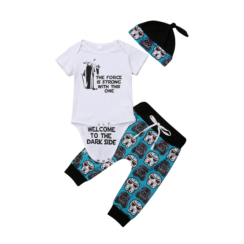 40333cd84 Summer Baby Boy Girl Star Wars Clothes Set Short Sleeve White Romper  Tops+Skull Floral Pants Leggings 3pcs Outfit Set Clothes