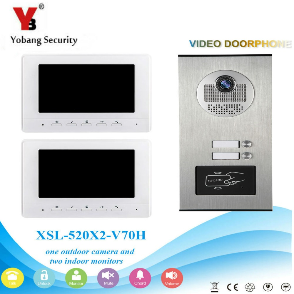 Yobang Security 2 Units Apartment/Family Video Intercom Speakerphone System With 7 Inch LCD Waterproof Doorbell Camera System