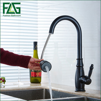 Single Holder Single Hole Black Pull Out Kitchen Faucet Oil Rubbed Bronze Copper Tap Mixer Kitchen