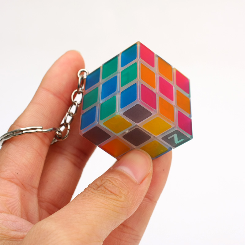 New ZCUBE 3cm Keychain 3x3x3 Cube transprent and Luminous Twist Puzzle Brain Teaser Educational Toys for