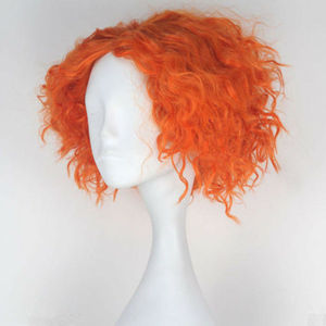 Image 3 - Alice in Wonderland 2 Mad Hatter Tarrant Hightopp Wig Short Orange Heat Resistant Synthetic Hair Perucas Cosplay Wig + Wig Cap