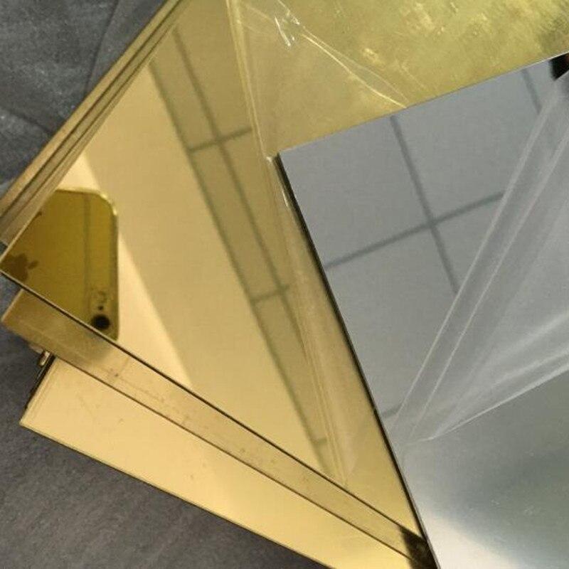 16pcs กระจกอะคริลิคโกลด์ 400x600x2mm PMMA พลาสติกบ้านตกแต่งห้องน้ำเลนส์เรา Proofing custom รูปร่าง Arbitrary-ใน กระจกประดับตกแต่ง จาก บ้านและสวน บน   1