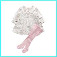 2016 High Quality Casual Girls Clothing Sets Children Clothing Flower Print Long Sleeve T Shirt Pants