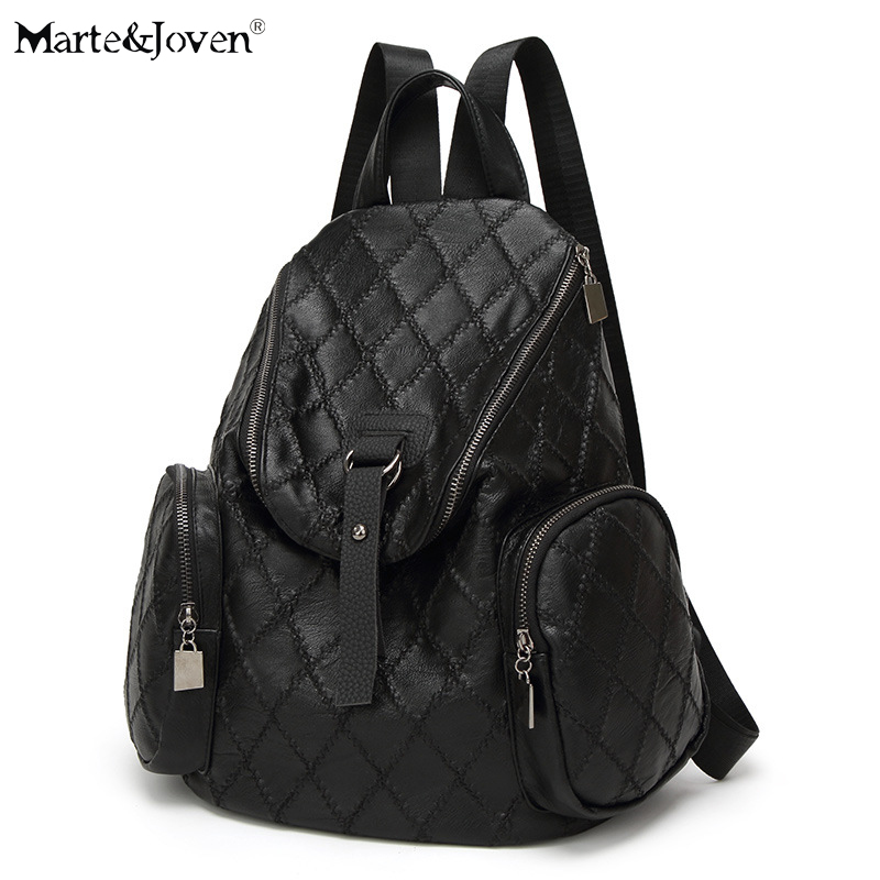 Unique Shape Black Plaid Pattern PU Leather Backpack for Women Brand Designer Diamond Lattice Girls Traveling