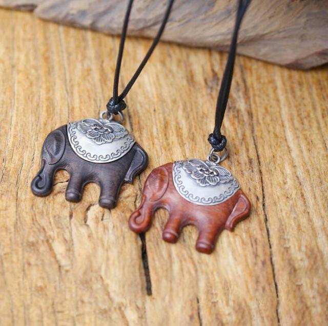Sandalwood Handmade Elephant 990 Sterling Silver Necklace2