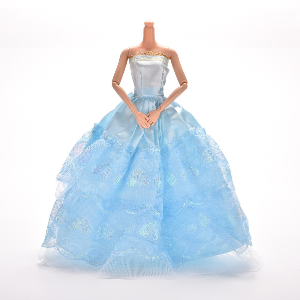 Summer Strapless Dolls Princess Dress Blue Lace Evening Party Dress for Doll Clothing