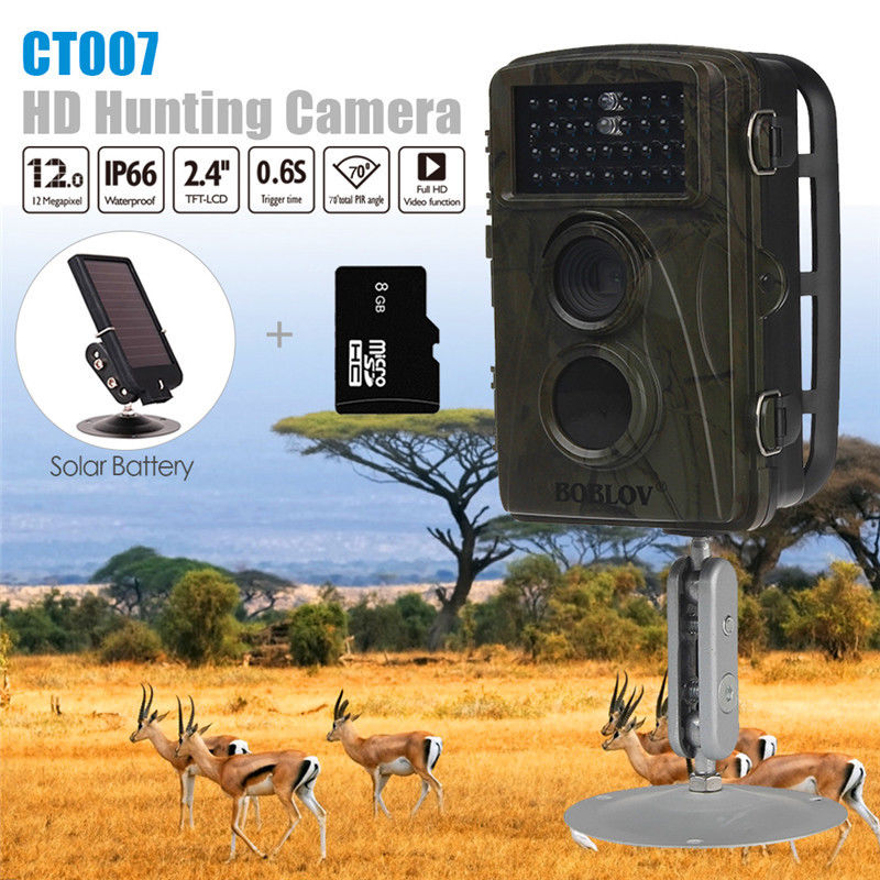 BOBLOV CT007 8GB 12MP Hunting Camera Game Trail Scouting Wildlife IR 34 LEDs Night Vision 0.6S Trigger Time 6V Solar Battery bestguarder sy 007 360 degree wireless hunting trail