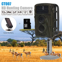 BOBLOV CT007 8 GB 12MP Polowanie Camera Gry Wildlife Harcerstwa Trail 34 Diody IR Night Vision 0.6 S Czas Wyzwalania 6 V Słoneczna baterii