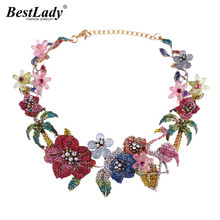 Best lady Bohemian Luxury Wedding Flowers Animal Crystal Statement Necklace for Women Fashion Collar Chokers Necklace Hotsale