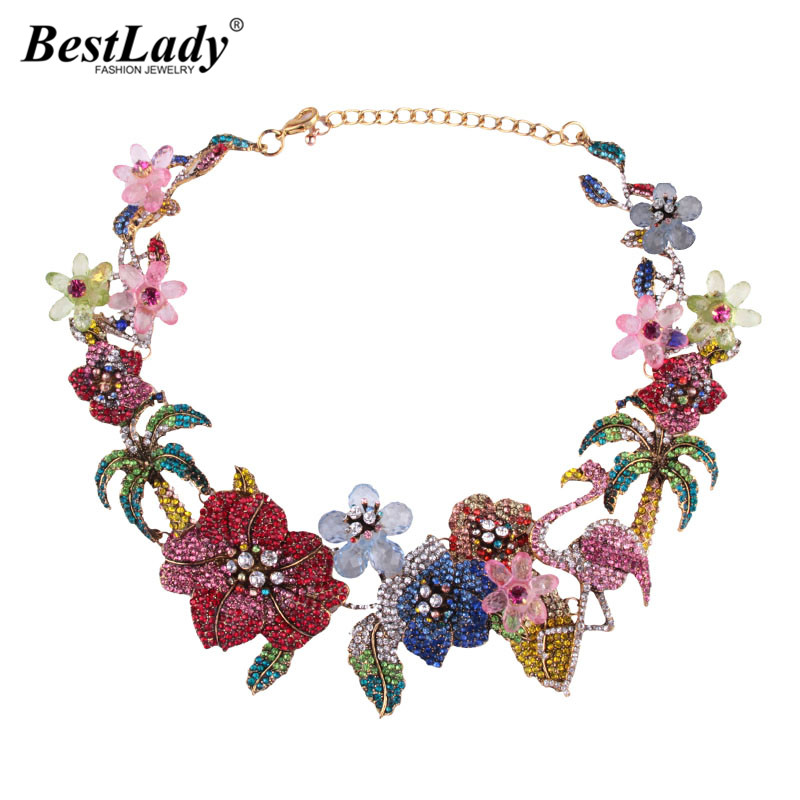 Best lady Bohemian Luxury Wedding Flowers Animal Crystal Statement Necklace for