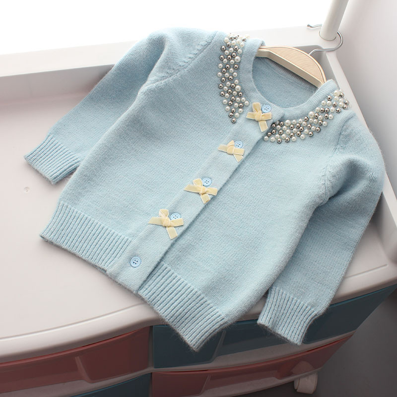 Image 3 - Christmas Jacket for Girls Sweater Autumn Winter Cardigan Woolen  Children Sweater Knitted Bow Pearl Girls Clothes Outerwear-in Sweaters from Mother & Kids