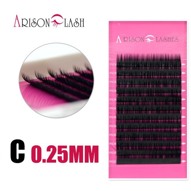 Permanent russian fake eyelashes extensions 0.25 C curl eyelash ...