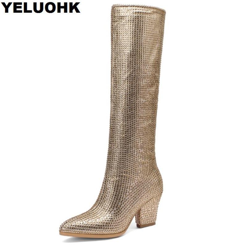 ยี่ห้อ Rhinestone ฤดูหนาวรองเท้าผู้หญิงรองเท้าส้นสูงแฟชั่นชี้ Toe กว่าเข่ารองเท้าผู้หญิงรองเท้าผู้หญิงสบายๆรองเท้าบูทสูง-ใน รองเท้าบู๊ทสูงระดับเข่า จาก รองเท้า บน   1