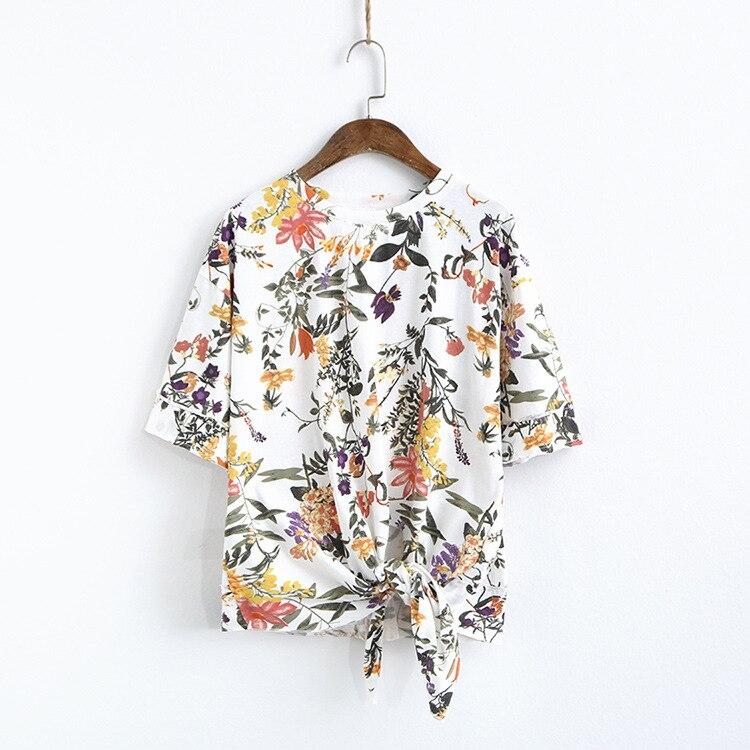 Été coton lin chemise demi manches haut pour femme t-shirt O cou blanc jaune noir plage Style S87031