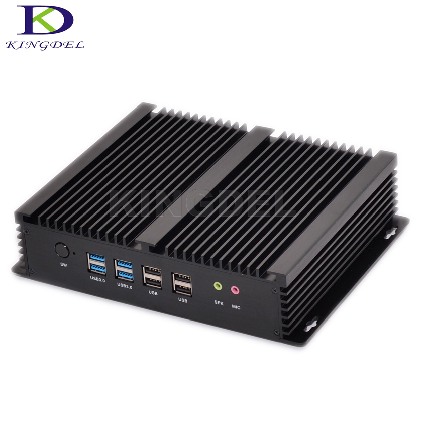Industrial PC Fanless Mini Computer Core I7 4500U I3 4010U Rugged ITX Case Embedded  2*LAN HDMI 6*COM Barebone Tiny PC Windows10